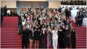 Group of Women Protesting at Cannes red Carpet for Gender Inequality in Film and Festival