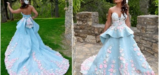 Blue and Pink Color Gown Designed by Four-Time Top 10 Finalist, Julie Hass of Stockton