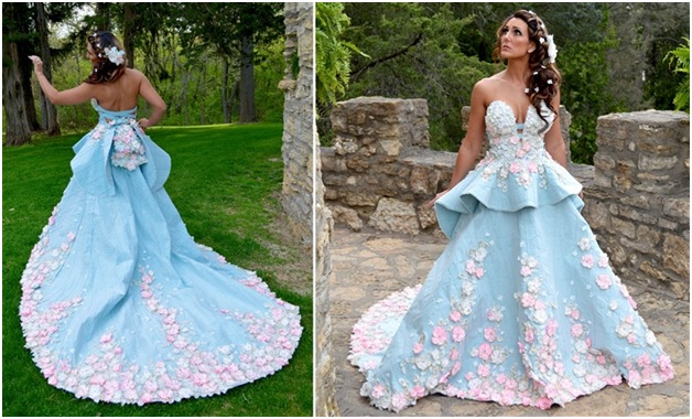Blue and Pink Color Gown Designed by Four-Time Top 10 Finalist, Julie Hass of Stockton, Illinois