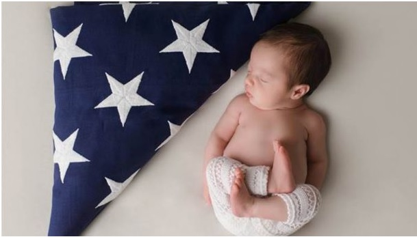 Christian Sleeping Peacefully Next to American Flag