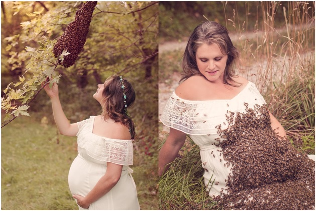 Emily Mueller With a Hive of Bees (Left) and Bees on Her Pregnant Belly (Right