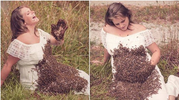 Soon-to-be Mother, Emily Mueller in a Maternity Photoshoot with 20,000 Bees on Her Bump