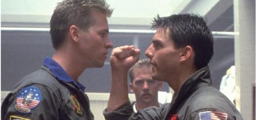 Tom Cruise and Iceman Val Kilmer in Top Gun Movie 1986