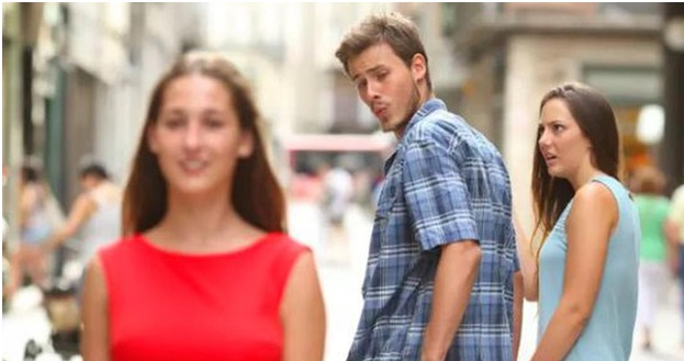 Image of the Distracted Boyfriend Whish Has Been Spun Off Many Times by Netizens