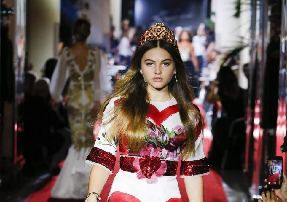 (Thylane Blondeau Walking the Ramp for Dolce & Gabbana)