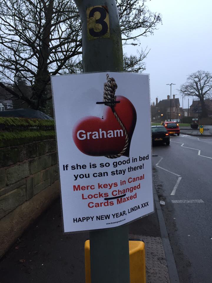 Linda Nailed The Cheating Revenge Stories by Nailing a Poster Around Warwick Town Centre
