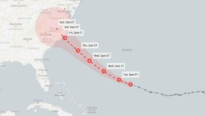 The Image is Showing The Possible Range Of Florence Hurrican for Next Five Days